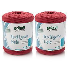 Gründl Fil textile Nele, tons rouges, 2x 500 g