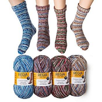 Laine à chaussettes Regia cotton Color 'Around the world'