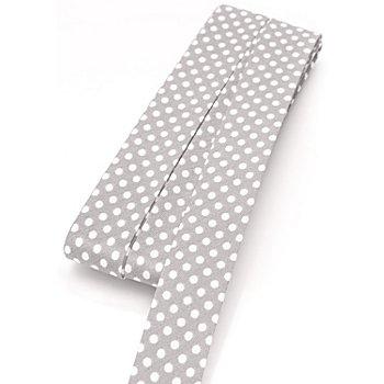buttinette Baumwoll-Schrägband 'Punkte', hellgrau-weiss, Breite: 2 cm, 5 m