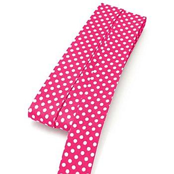 buttinette Baumwoll-Schrägband 'Punkte', pink-weiß, Breite: 2 cm, 5 m