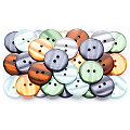buttinette Boutons tendance, vert/gris/marron/orange, 22 mm Ø, 40 pièces