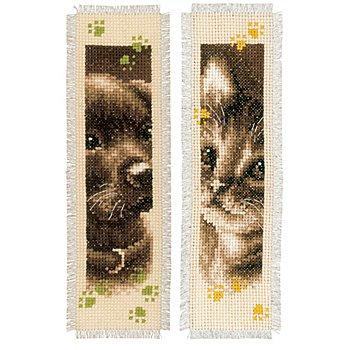 Marque-pages 'chiot & chaton', écru