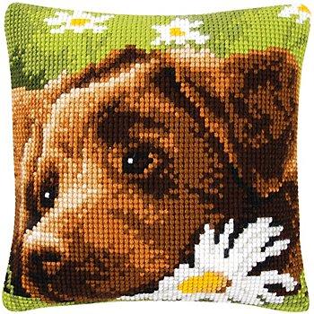 Kreuzstichkissen 'Hund mit Blume'