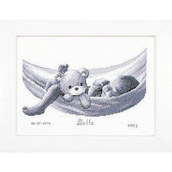 Tableau à broder 'bébé dans un hamac', 27 x 19 cm