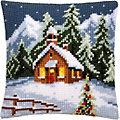 """Devant de coussin à broder """"village hivernal"""""""