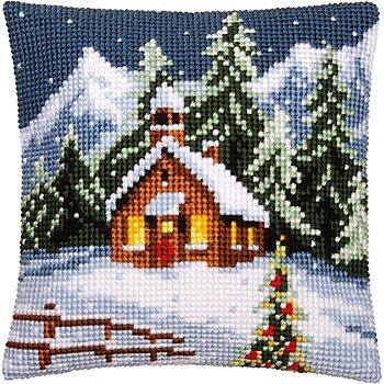 Devant de coussin à broder 'village hivernal'