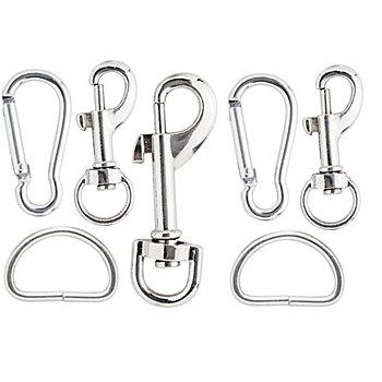 Taschenzubehör-Set mit Karabinern und D-Ringen, 7-teilig