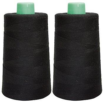 buttinette Set éco de fil pour surjeteuse, noir, 2 bobines, grosseur : 120, 5000 m