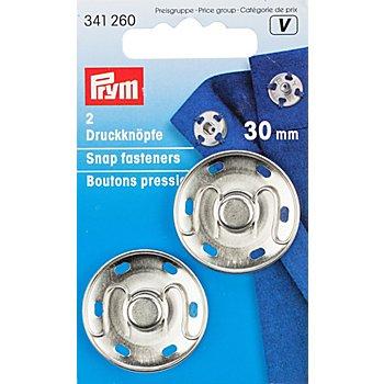 Prym Druckknöpfe zum Annähen, silber, Größe: 30 mm Ø, Inhalt: 2 Stück