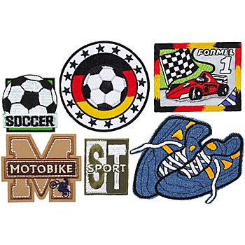 buttinette Applikationen 'Sport', Größe: 3,3 - 8,5 cm, Inhalt: 6 Stück