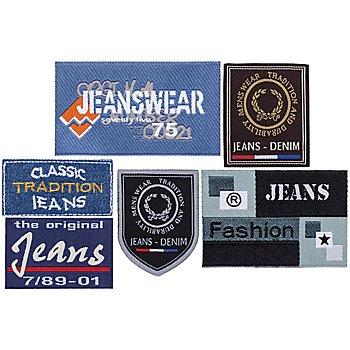 buttinette Motifs à coudre et à repasser 'jeans', dim : 4,7 - 9,0 cm, 6 pièces
