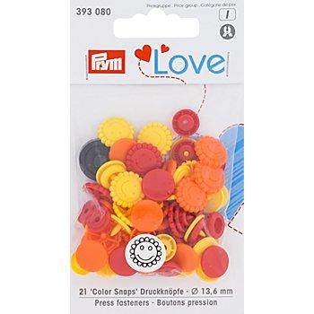 Prym Druckknöpfe 'Color Snaps Sonne/Blume', rot color, 13,6 mm Ø, 21 Stück