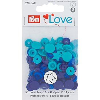 Prym Boutons pression 'Color Snaps étoile', bleu multicolore, 12,4 mm Ø, 30 pièces
