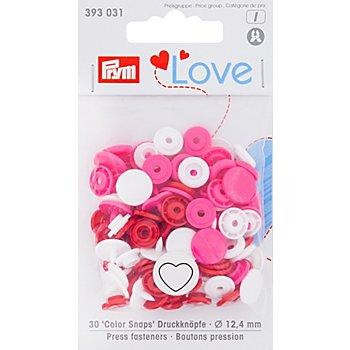 Prym Druckknöpfe 'Color Snaps Herz', pink color, 12,4 mm Ø, 30 Stück