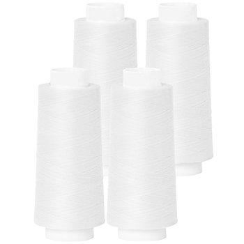 buttinette Set éco de fil pour surjeteuse, blanc, 4 bobines, grosseur : 120, 2500 m