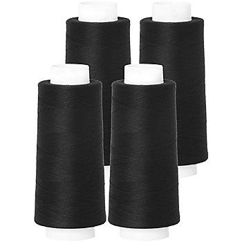 buttinette Overlockgarn im 4er-Pack, Stärke 120, 2500m-Spule, schwarz