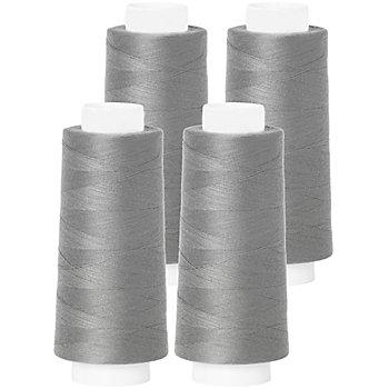 buttinette Set éco de fil pour surjeteuse, gris, 4 bobines, grosseur : 120, 2500 m