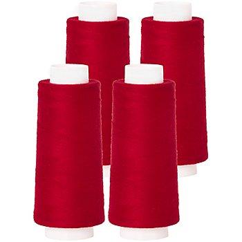 buttinette Overlockgarn im 4er-Pack, Stärke 120, 2500m-Spule, rot