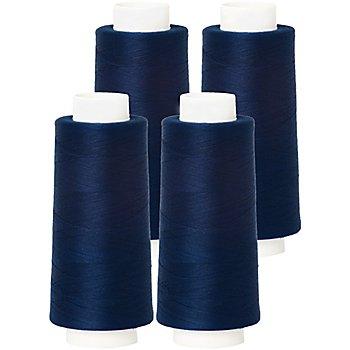 buttinette Set éco de fil pour surjeteuse, bleu marine, 4 bobines, grosseur : 120, 2500 m
