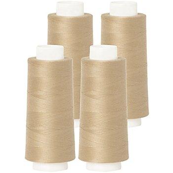buttinette Set éco de fil pour surjeteuse, beige, 4 bobines, grosseur : 120, 2500 m