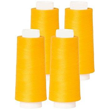buttinette Overlockgarn im 4er-Pack, Stärke 120, 2500m-Spule, sonnengelb