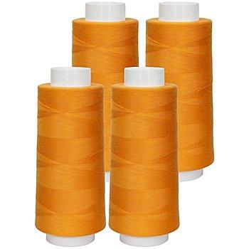 buttinette Overlockgarn im 4er-Pack, Stärke 120, 2500m-Spule, orange
