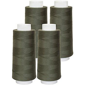 buttinette Overlockgarn im 4er-Pack, Stärke 120, 2500m-Spule, oliv