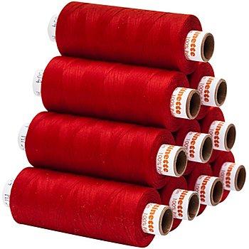 buttinette Universal-Nähgarn, Stärke: 100, 10er-Pack, rot