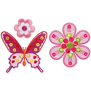 buttinette Applikationen 'Schmetterling und Blumen', Größe: 2,8 - 6,8 cm, Inhalt: 3 Stück