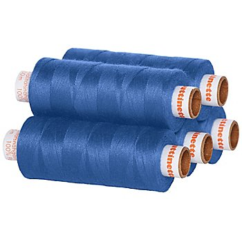 buttinette Universal-Nähgarn, Stärke: 100, 5er-Pack, blau