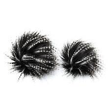 buttinette Pompons en imitation fourrure, noir/blanc, dim. : 9 et 12 cm Ø