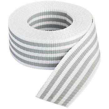 buttinette Sangle pour sacs 'rayures', blanc/gris clair, largeur : 4 cm, longueur : 3 m