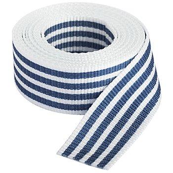 buttinette Taschengurtband 'Streifen', weiss-marine, Breite: 4 cm, Länge: 3 m