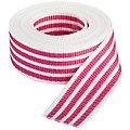 """buttinette Sangle pour sacs """"rayures"""", blanc/rose vif, largeur : 4 cm, longueur : 3 m"""