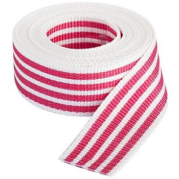 buttinette Sangle pour sacs 'rayures', blanc/rose vif, largeur : 4 cm, longueur : 3 m