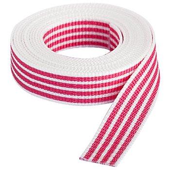 buttinette Taschengurtband 'Streifen', weiß-pink, Breite: 2,5 cm, Länge: 3 m