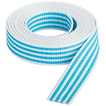buttinette Taschengurtband 'Streifen', weiss-türkis, Breite: 2,5 cm, Länge: 3 m