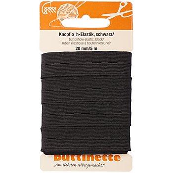 buttinette Gummiband 'Knopfloch-Elastik', schwarz, Breite: 20 mm, Länge: 5 m