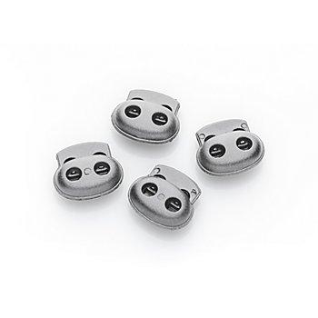 buttinette Kordelstopper, grau, für Kordeln bis 2 mm Ø, Inhalt: 4 Stück
