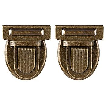 buttinette Steckschloss für Taschen, Grösse: 32 x 38 mm, altmessing, 2 Stück