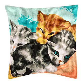 Kreuzstichkissen 'Schlafende Kätzchen'