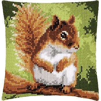 Kreuzstichkissen 'Eichhörnchen im Wald'