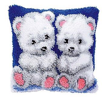 Devant de coussin au point noué 'oursons blancs'