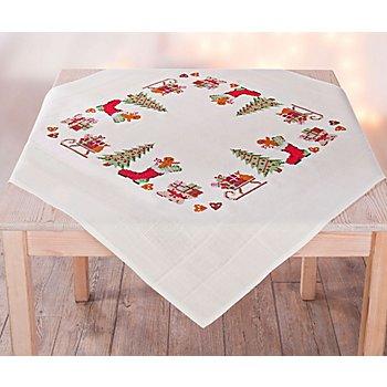 Chemin de table à broder au point de croix 'Noël nostalgique'