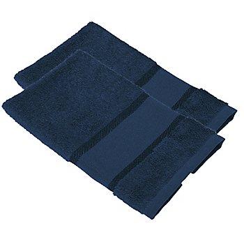 buttinette Serviettes invité à broder en tissu éponge, bleu marine, 2 pièces