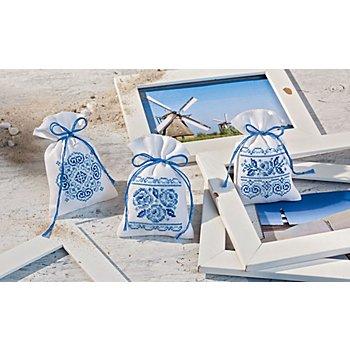Geschenk- und Kräutersäckchen 'Delfter Blau', 3er-Set