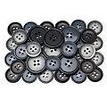 buttinette Boutons pour costume, gris marbré/bleu foncé/noir, 15 - 20 mm Ø, 36 pièces