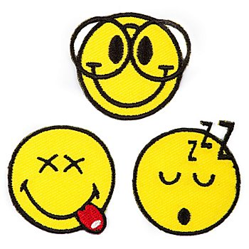 Motifs 'Smiley® Nerd', dim. : 3,5 cm Ø, contenu : 3 pièces