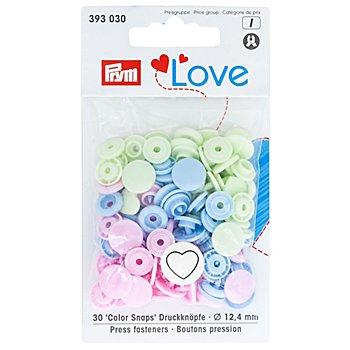 Prym Boutons pression 'Color Snaps - cœur', rose/vert/bleu clair, 12,4 mm Ø, 30 pièces
