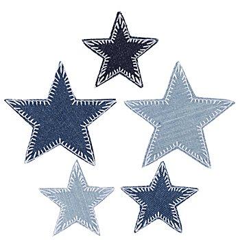 buttinette Jeans-Applikationen 'Sterne', Größe: 5 - 7,3 cm, Inhalt: 5 Stück